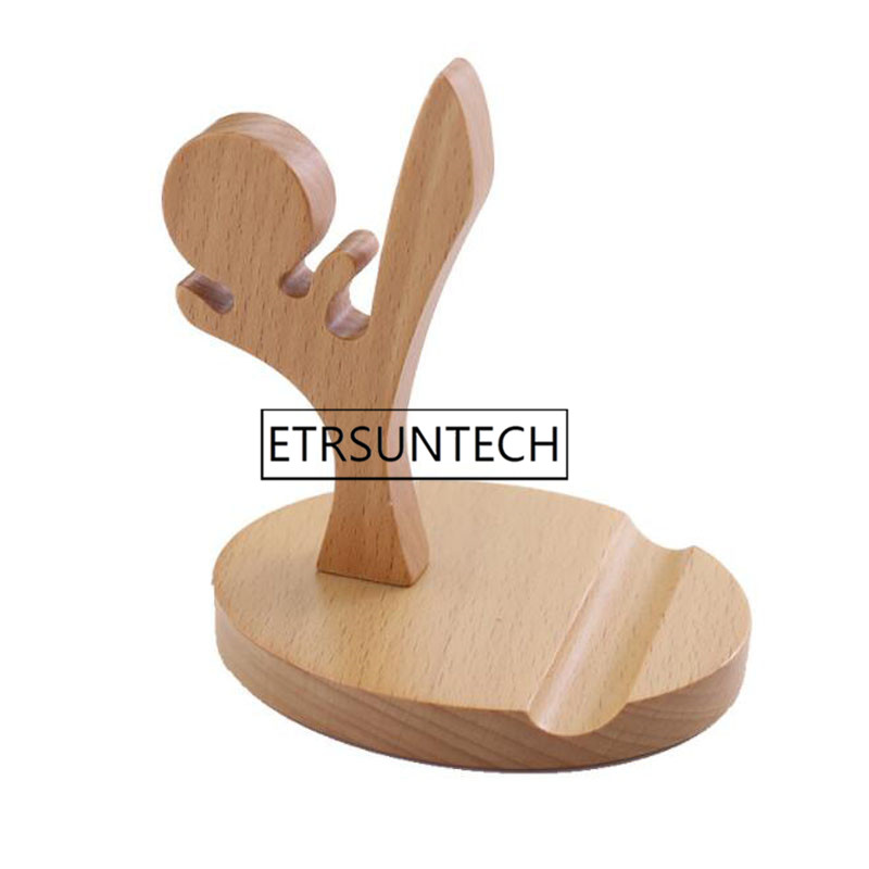 50pcs Universal Unique Wooden Kufung Style Cellphone Holder Stand Bracket For Smart Phones Portable Gifts For Friend