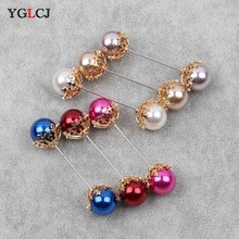 Double Pearl Brooch Snowflake Bow Decoration Accessories Enamel Needle Silk Scarf Buckle Pure Copper Fittings