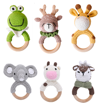 1PC Baby Rattle Toys Cartton Animal Crochet Wooden Rings Rattle DIY Crafts Teething Rattle Amigurumi For Baby Cot Hanging Toy