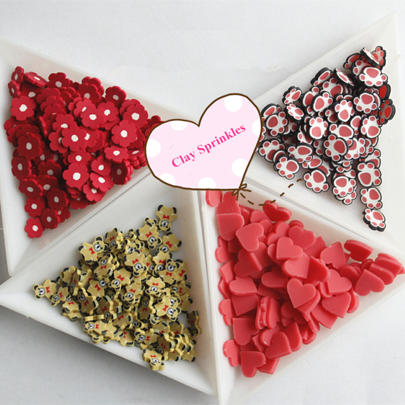 100g Hot Clay Sprinkles For Crafts Fimo Polymer Clay Cartoon Bear Claw Flower Heart Slices DIY Slime Accessories Klei Supply 1cm