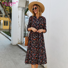 S.FLAVOR Women Casual Dress Women V Neck 3/4 Sleeve A Line Mid Calf Print Dress Female Elegant Waist Autumn Midi Dress