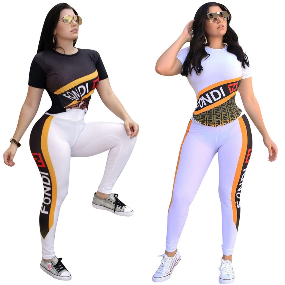 LS6282 Europe And America WOMEN'S Dress Amazon AliExpress Hot Selling Trendy Letters Printed Slim Fit Two-Piece Set Sports Set
