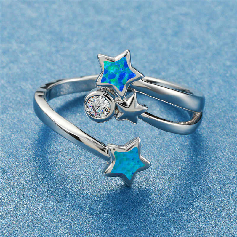 חמוד נקבה כחול אש אופל כוכב טבעת מינימליסטי אמיתי 925 כסף סטרלינג חתונה טבעת הבטחת אהבת אירוסין טבעות לנשים