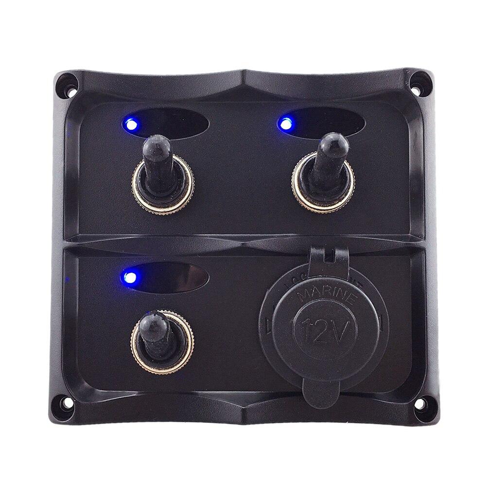 3-Gang Toggle & 1 Socket Waterproof Switch Panel - Marine/Boat/RV/Caravan