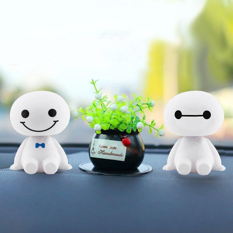 Fashion Car Ornaments Shake Head Doll Robot Toys Shaking Cute Toys Auto Style Decoration Cartoon Plastic Figure Ornament