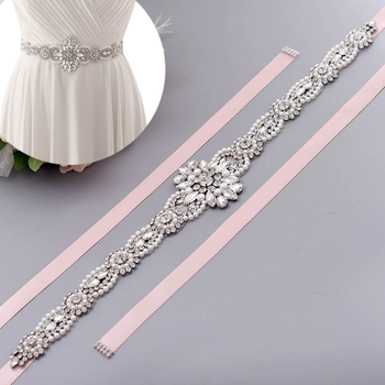 TOPQUEEN S05C Pearl  Rhinestone Belt Sashes  Formal Bridal Jewelry Crystal Belts With Scarf Stunning Sash Belt Trims Pearl Belt