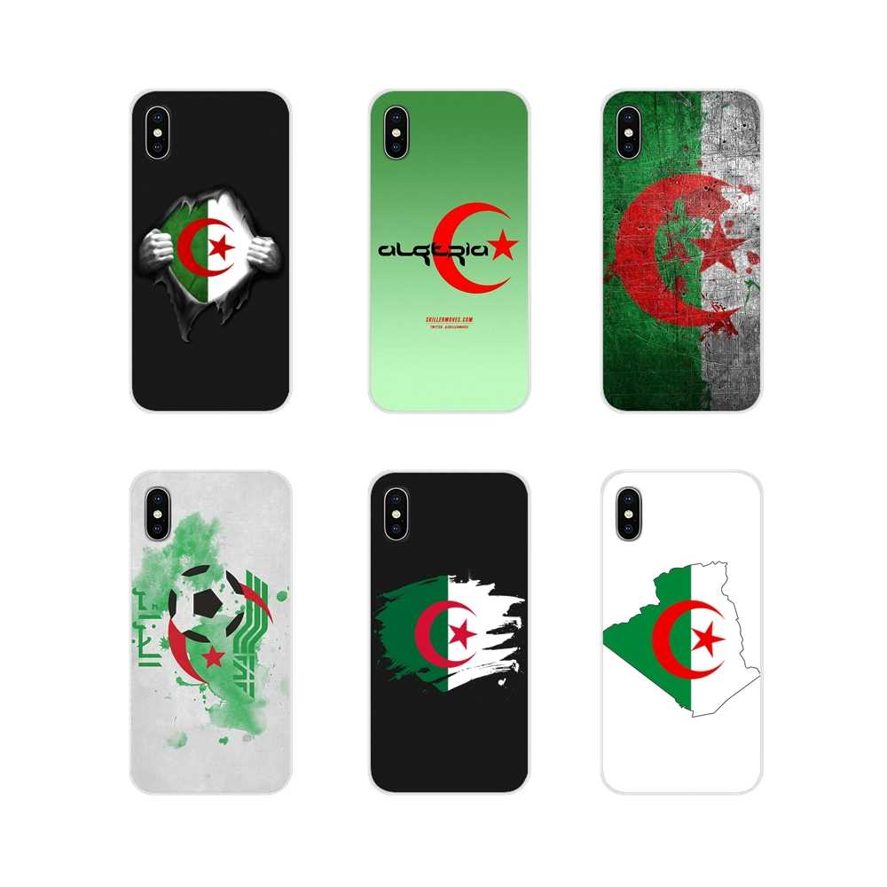 Für Apple iPhone X XR XS MAX 4 4S 5 5S 5C SE 6 6S 7 8 plus ipod touch 5 6 Transparent TPU Shell Fällen Algerien Flagge banner poster