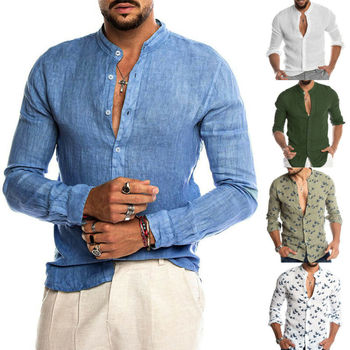 2019 Fashion Mens Solid Color Shirts Casual Dress Shirt Slim Fit Holiday Long Sleeve Tops Luxury Hot