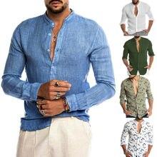 2019 Fashion Men's Solid Color Shirts Casual Dress Shirt Sli