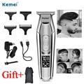Kemei триммер для стрижки волос триммер для бороды ЖК-дисплей 0 мм парикмахерская беспроводная электрическая машинка для стрижки волос USB заря...