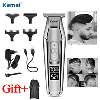 Kemei Barber Professional Hair Clipper LCD Display 0mm Beard Hair Trimmer men's cordless by electric hair trimmers hair clippers