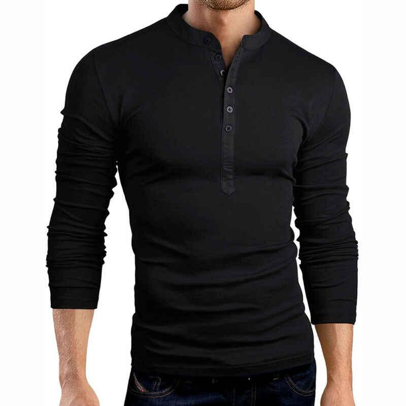 แฟชั่น New Mens SLIM FIT V คอแขนยาวกล้ามเนื้อเสื้อลำลองเสื้อ Henley เสื้อ 2019 ฤดูใบไม้ร่วงบางเสื้อผู้ชายเสื้อ