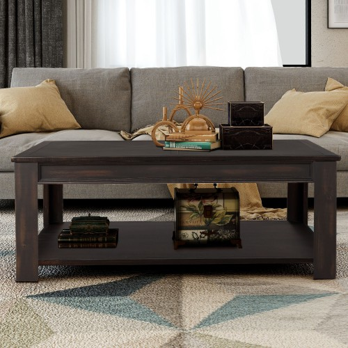 Easy Assembly Hillside Rustic Natural Coffee Table Accent Cocktail