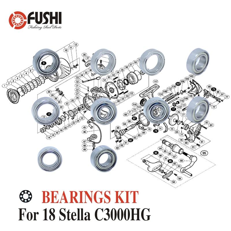 Fishing Reel Stainless Steel Ball Bearings Kit For Shimano 14 Stella C3000HG / 03446 Spinning reels Bearing Kits
