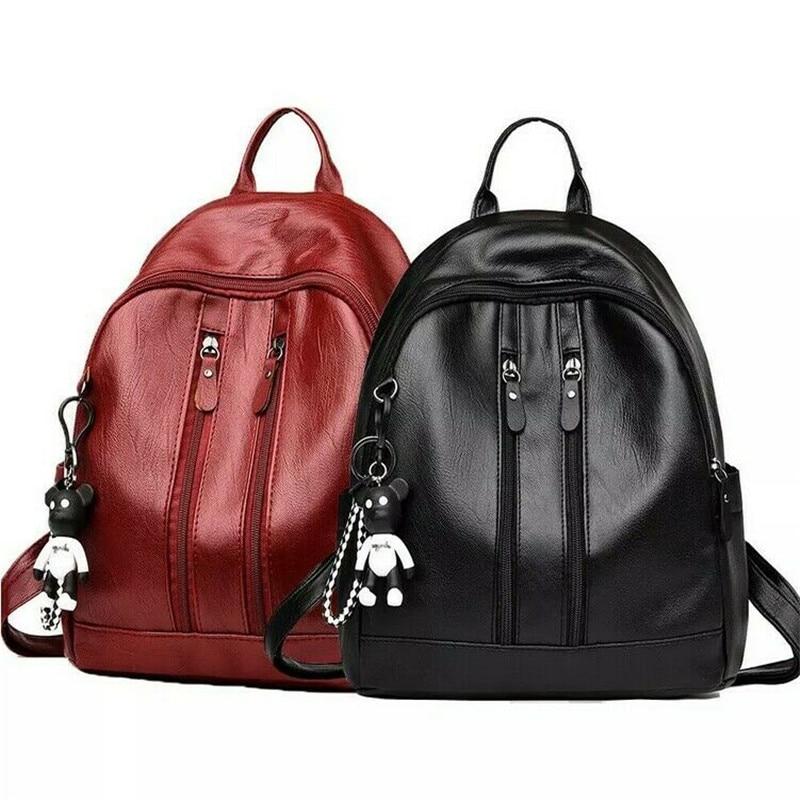 Newly Fashion Women Girl Leather Backpack Schoolbags Handbag Shoulder Bag Satchel Rucksack Outdoor Large Capacity Backpacks
