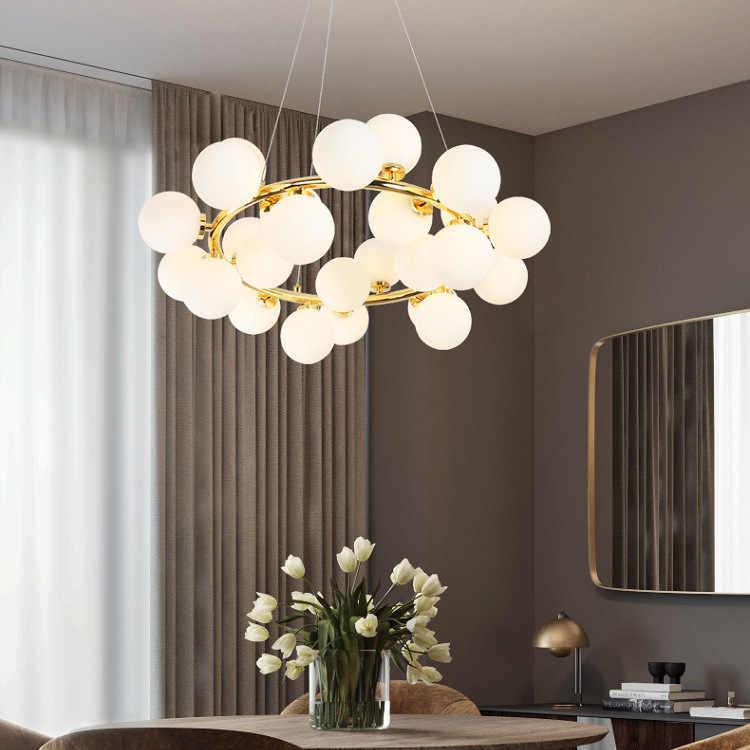 Magic Bean современный светодиодный подвесной подвесная люстра для гостиной столовой G4 золото/черно белое стекло крепления для светильника-люстры
