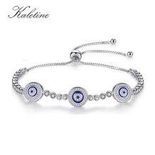 Новая мода высокое качество натуральной стерлингового серебра 925 Good Luck роскошный круглый синий Средства ухода для век ясно, кубический циркон Кристалл Теннис браслет