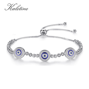 Image 1 - New Fashion High Quality Genuine 925 Sterling Silver Good Luck Luxury Round Blue Eyes Clear Cubic Zircon Crystal Tennis Bracelet