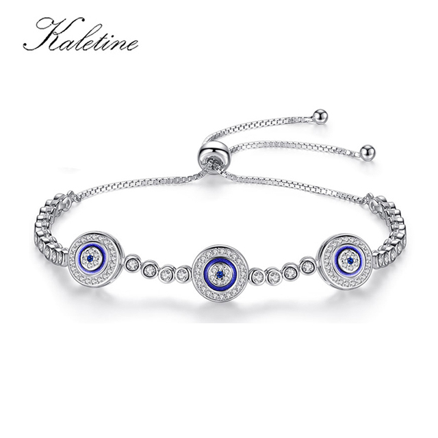 New Fashion High Quality Genuine 925 Sterling Silver Good Luck Luxury Round Blue Eyes Clear Cubic Zircon Crystal Tennis Bracelet
