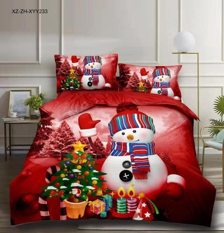BEST.WENSD Western christmas bedding set full queen king comforter sets Christmas Snowman Duvet cover pillowcases Red Jubilation