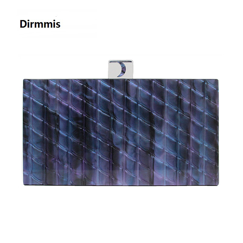 New Brand Fashion Wallet Women Acrylic Cute Handbag Blue Striped Woman Evening Bags Luxury Wedding Bags Vintage Box Purse Clutch