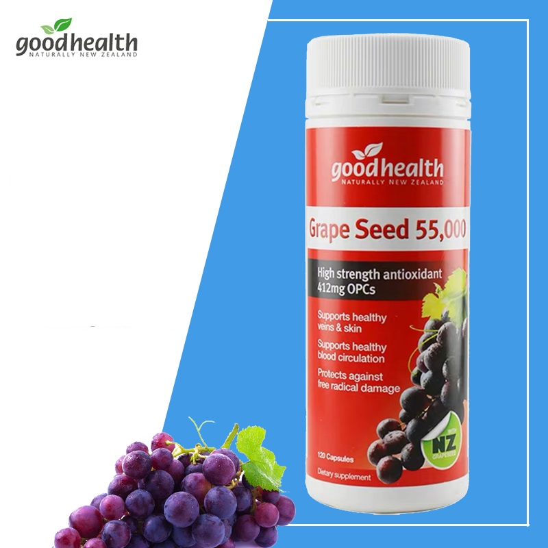 NewZealand Good Health Grape Seed OPCs Collagen 55000mg 120capsules Women Health supplement Healthy Skin Veins Blood Circulation image