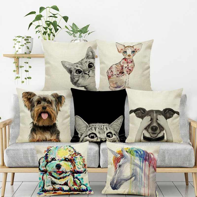 Cute Cat Dog Pattern Cushion Cover Cartoon Animal Linen Throw Pillow Case Cover Unicorn Decor Pillowcases Home Decorative