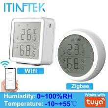 Tuya zigbee wifi sensor de umidade temperatura para casa inteligente higrômetro interior termômetro com display lcd ligação inteligente