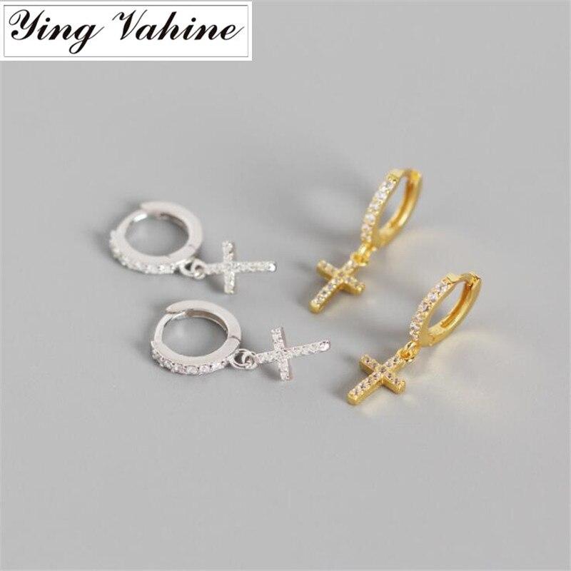 Ying Vahine 100% 925 Sterling Silber Funkelnden und Shiny Zirkone Kreuz Anhänger Stud Ohrringe für Frauen