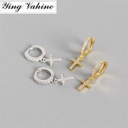 Ying vahine 100% 925 prata esterlina espumante e brilhante zircons cruz pingente brincos para mulher