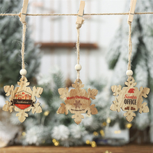 2019 Xmas New Year Christmas decorations Wooden English letter snowflake christmas tree pendant Painted tag 2pcs