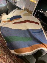 Color Geometric Pattern Sofa Throw Blanket with Fringe Notes Abstract Decorative Hanging Tapestry Blankets Rug Ins Home Decor