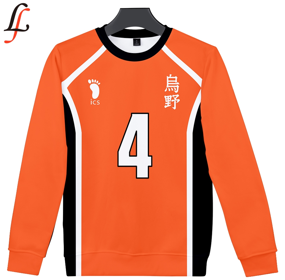 Volleyball Junior Hoodie Sweatshirt Round Neck Haikyu!! Sweatshirt 3D Full Sleeve Pop Style Casual Pullover Unisex Sweatshirt