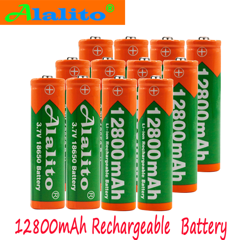 Battery Flashlight Accumulatorcell Rechargeable 12800mah Original 18650 For Torch Dropship