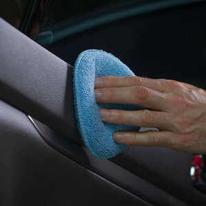 Image 3 - 24個5インチ車のワックスがけスポンジブルーラウンドアプリケーター簡単クリーニング革ポリッシュパッド泡マイクロファイバーユニバーサル洗える再利用可能な