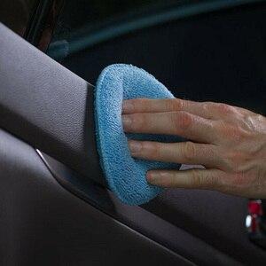 Image 3 - 24 adet 5 inç araba ağda sünger mavi yuvarlak aplikatör kolay temizlik deri lehçe Pad köpük mikrofiber evrensel yıkanabilir yeniden kullanılabilir