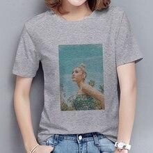 2020 nuevo Streetwear Ariana Grande camiseta de Color sólido para mujer estilo coreano Vintage cómodo de manga corta Camisetas cuello redondo grises