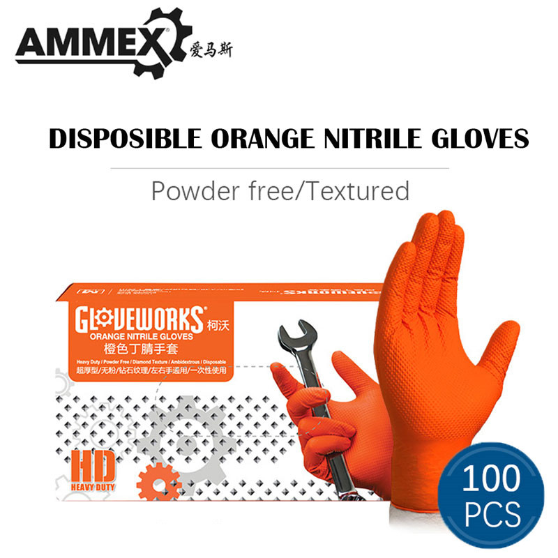 AMMEX Orange Thicken Work Glove Nitrile Disposable 100pcs Non-slip Protective Wear-Resistant Safety Industry Mechanical Boxed