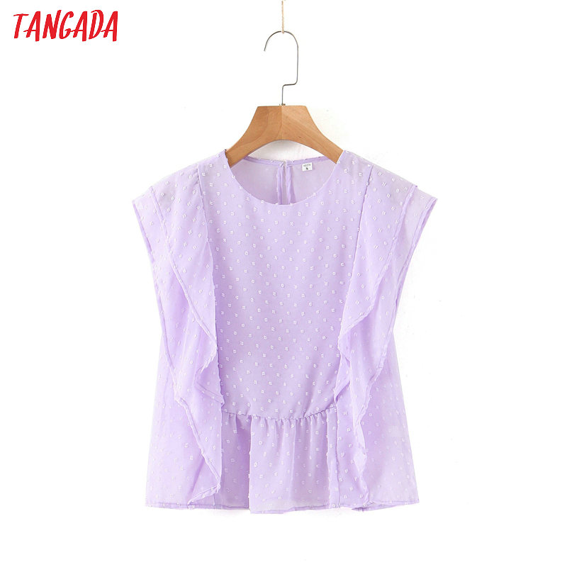 Tangada Women Embroidery Ruffle Sleeveless Shirts Purple O-neck Female Casual Summer Tops Blouses SL230