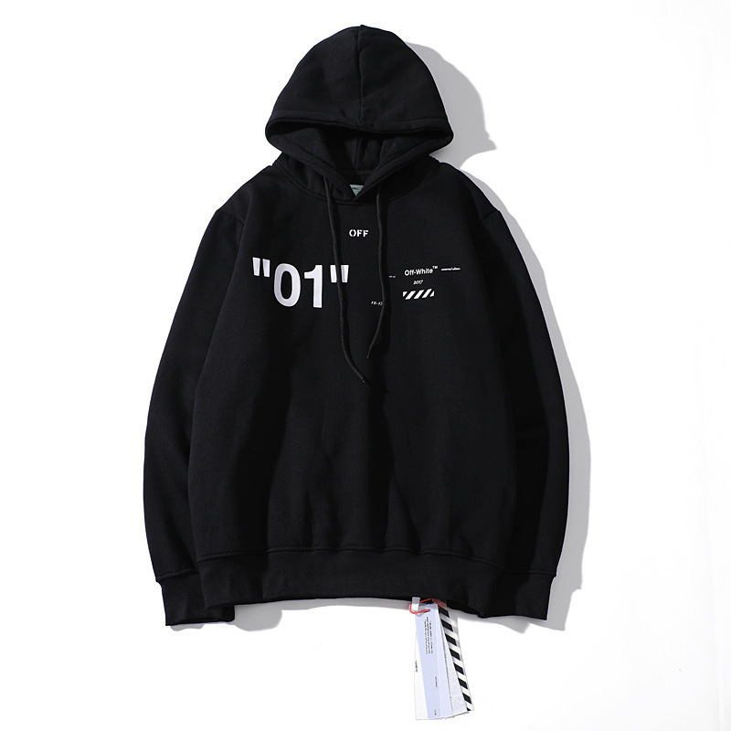 Ow Autumn And Winter New Style Off White Base Ow01 Plus Velvet Hoodie Men And Women Couples Coat