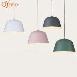 Lampy wiszące styl skandynawski vintage home decor przemysłowe aluminium nowoczesne E27colors jadalnia lampa do salonu oprawa oświetleniowa w Wiszące lampki od Lampy i oświetlenie na