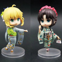 Anime Fate Stay Night Saber Tohsaka Rin Kimono Q Ver PVC Action Figure Collectible Model doll toy 10cm 007#008# japanese anime fate stay night 25cm pvc archer tohsaka rin collectible model kids toys doll brinquedos