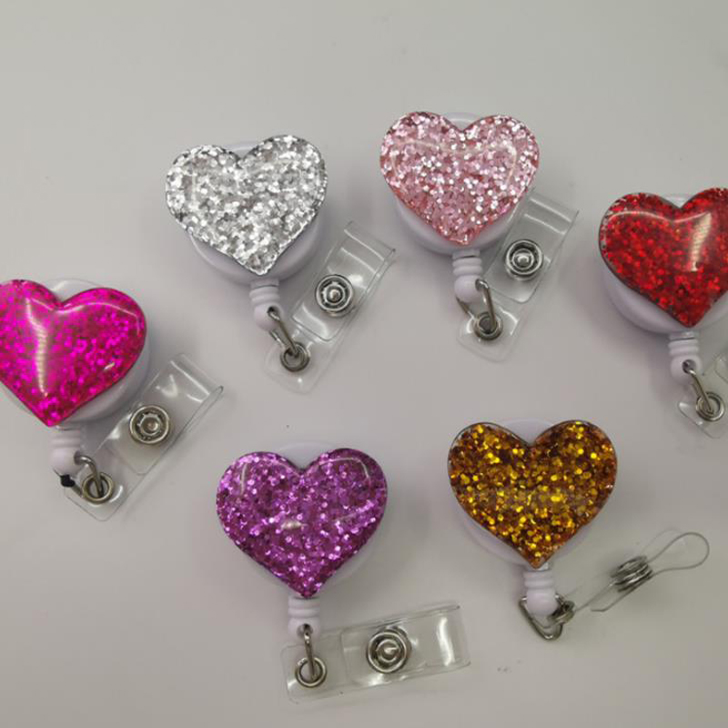 1 Pcs Lovely Glitter Rhinestone Love Heart Series Retractable Nurse Doctor Badge Reels Clip Students IC ID Card Badge Holder