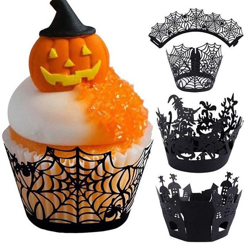 Image 3 - WEIGAO Halloween Party Cake Toppers Bat Cupcake Wrappers Kids Happy Halloween Party Cake Topper Event Party Decor Supplies-in Party DIY Decorations from Home & Garden