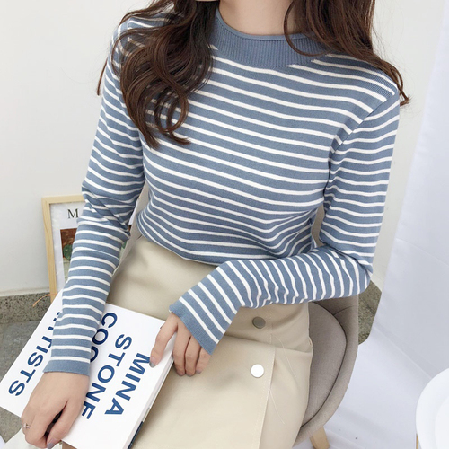 6 Color Spring New Korean Vintage Striped Knit Tops Female Wearing Harajuku Casual Pullover Women Sweater Jersey Mujer Jumper