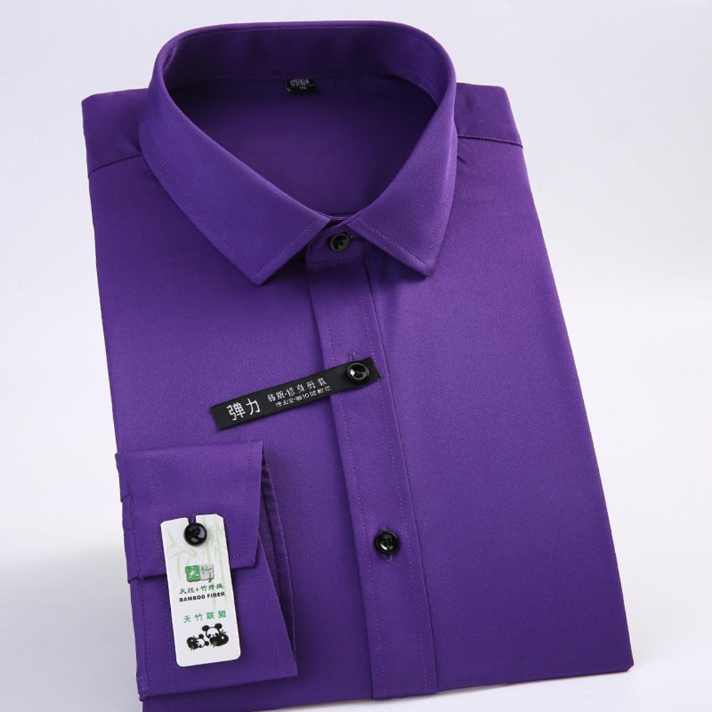 Purple Silk Cotton Shirt Men Spandex Office Shirts Formal Slim Fit Office Social Safari Japan New Model Business Solid Camisas
