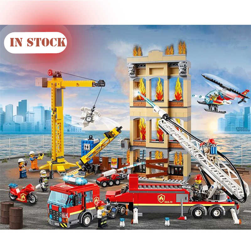 60216 60110 Compatible with legoinglys City Series The Fire Station Model Building Block Brick Toy For Children XMAS Gift