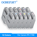 12 Colores/Set PFI-1700 cartucho de tinta Compatible relleno con tinta de 700ML para Canon PRO-2000 PRO- 4000 PRO-6000 impresora 1700 tanque de tinta