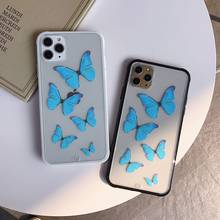 Mode 3D Schmetterling Telefon Fall für IphoneSE 2020 Fall 11 Pro MAX XS Max XR 8 7 6 Plus Abdeckung transparent Anti-knock TPU Coque(China)
