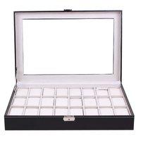 24 Grids Transparent Glass Black PU Leather Watch Box Jewelry Storage Case Organizer Classical Watches Display Casket
